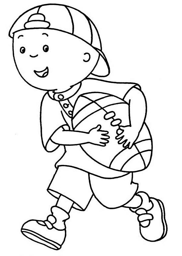 Caillou, : Caillou Would Like to Play Football Coloring Page