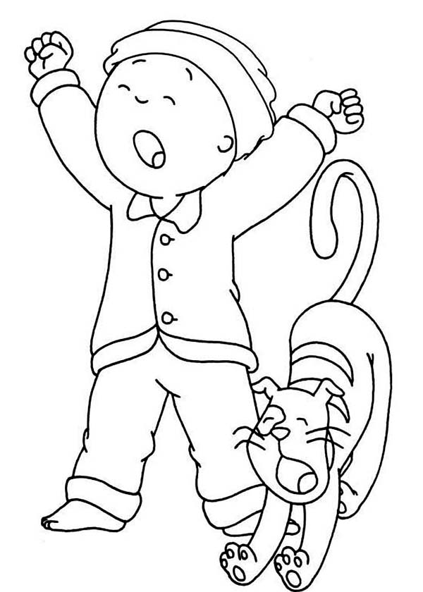 Caillou, : Caillou and His Cat Gilbert Yawning Coloring Page