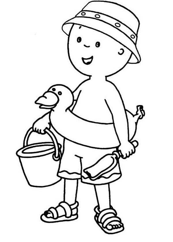 Caillou, : Caillou is ready to Paly at the Beach Coloring Page