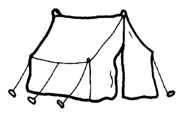 Camping, : Camping Tent Coloring Page for Kids