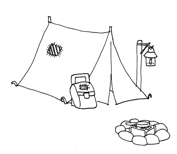 Camping, : Camping Tent and Campfire Coloring Page
