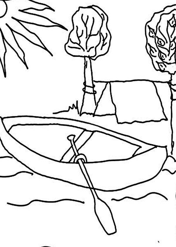 Camping, : Camping at Riverside Coloring Page