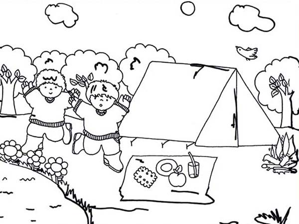 Camping, : Camping with Friends Coloring Page