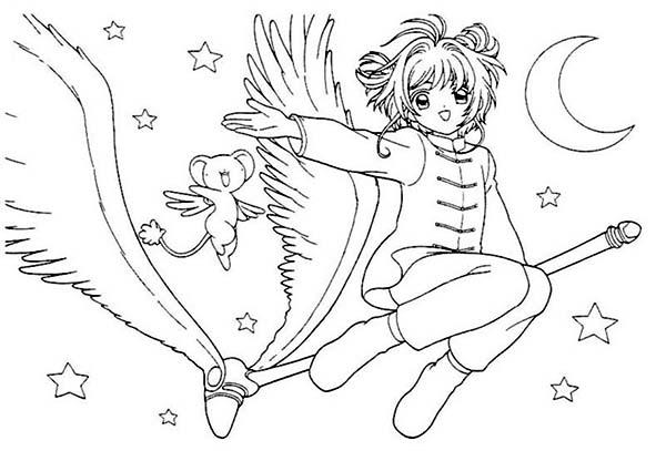 Cardcaptor Sakura, : Cardcaptor Sakura Flying with Kroberos Coloring Page