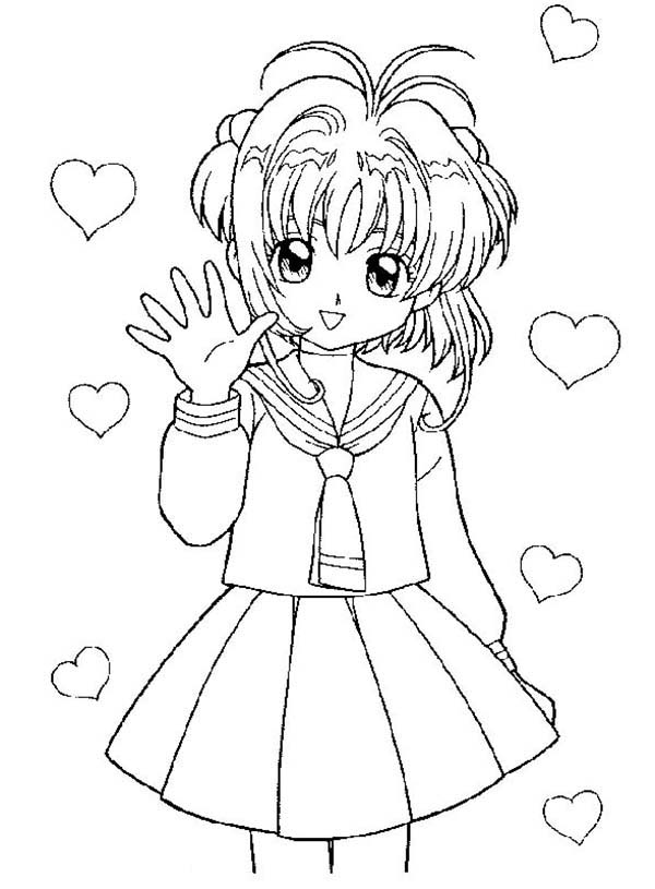 Cardcaptor Sakura, : Cardcaptor Sakura Waving Her Hand Coloring Page