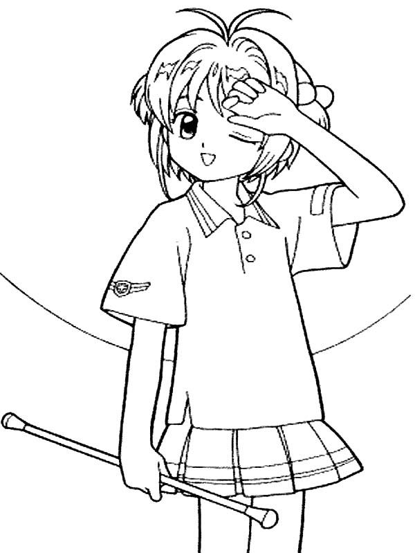 Cardcaptor Sakura, : Cardcaptor Sakura a Little Tired Coloring Page