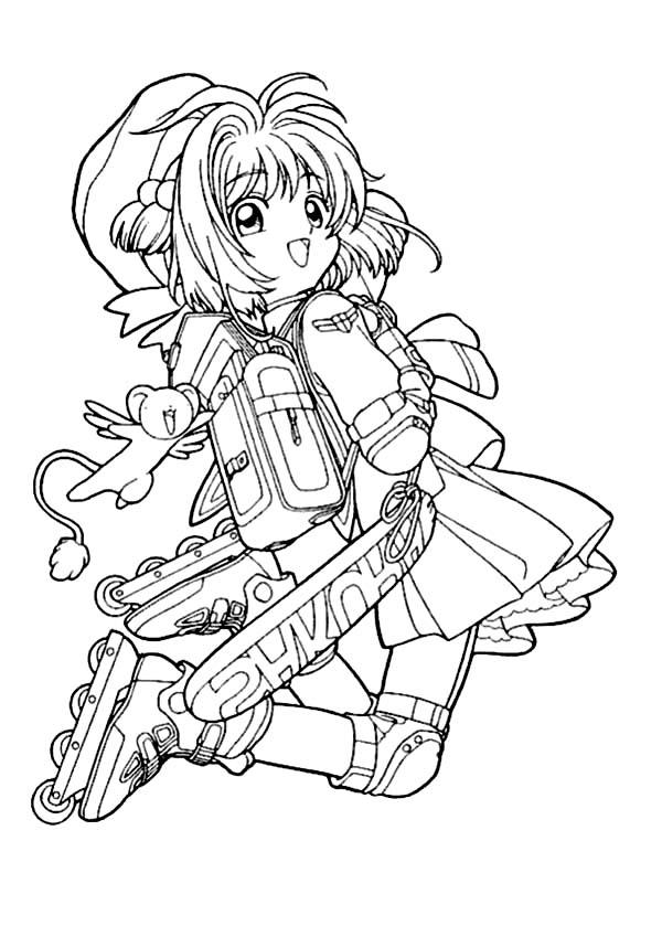 Cardcaptor Sakura, : Cardcaptor Sakura is Going to School Coloring Page