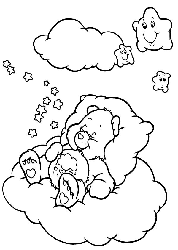 Care Bear Falling Asleep Coloring Page | Coloring Sun