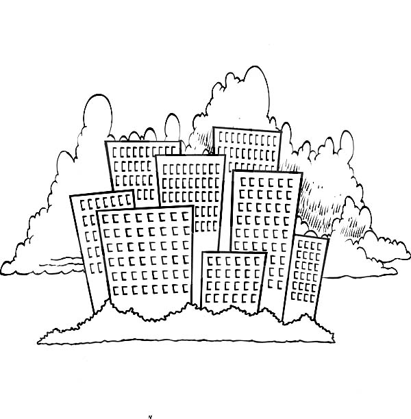 City, : Cartoon City Skyline Coloring Page