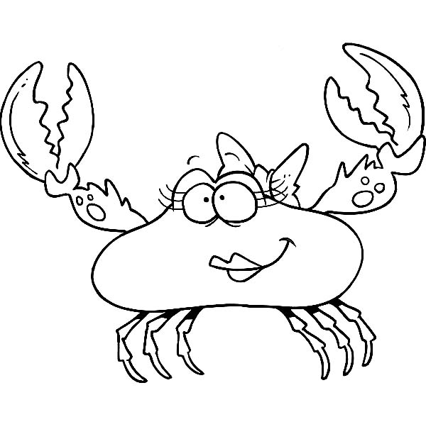 Crab, : Cartoon of Beautiful Female Crab Coloring Page