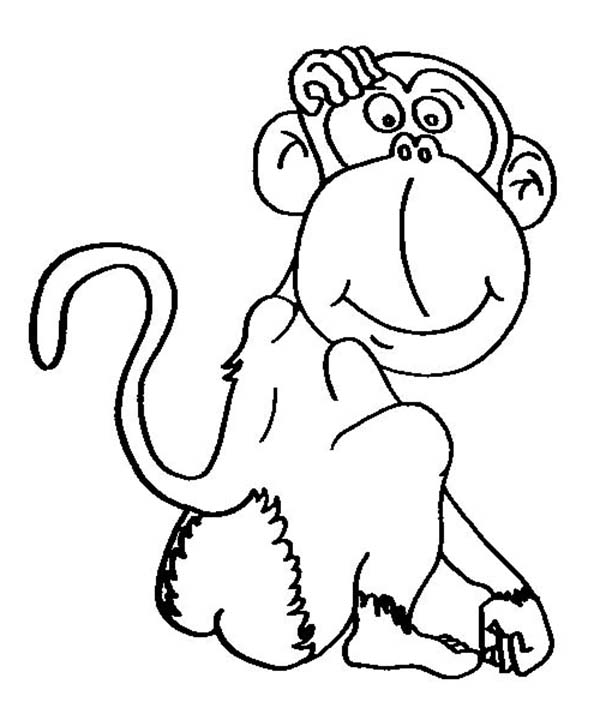 Chimpanzee, : Cartoon of Chimpanzee Coloring Page