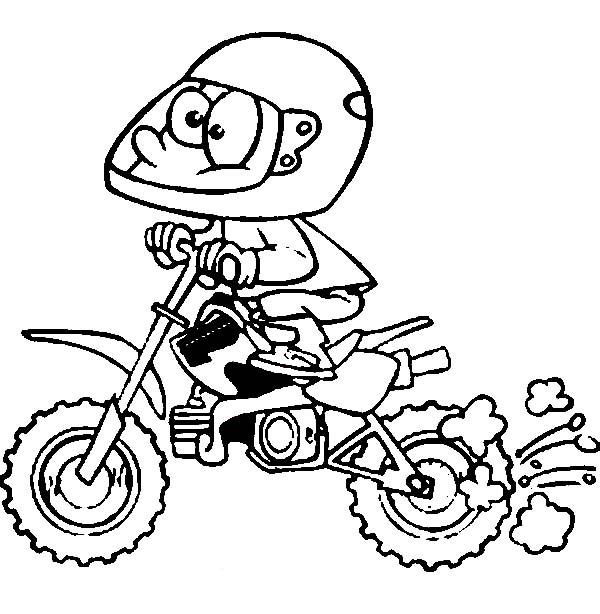 Dirt Bike, : Cartoon of Dirt Bike Rider Coloring Page