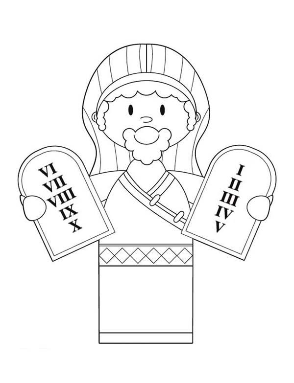 Ten Commandments, : Cartoon of Ten Commandments Coloring Page