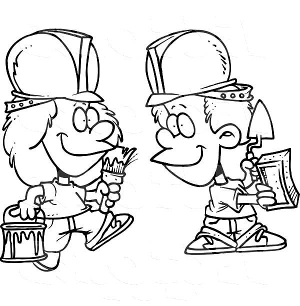 Construction, : Cartoon of Two Construction Worker Coloring Page