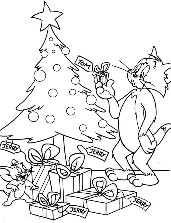 celebrate christmas with tom and jerry coloring page