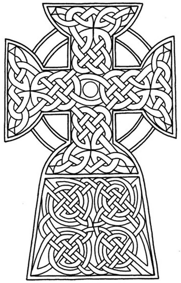 Cross, : Celtic Ethnic Cross Coloring Page