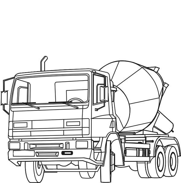 Construction, : Cement Mixer on Construction Work Coloring Page