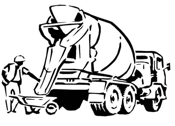 Construction, : Cement Truck for Construction Work Coloring Page