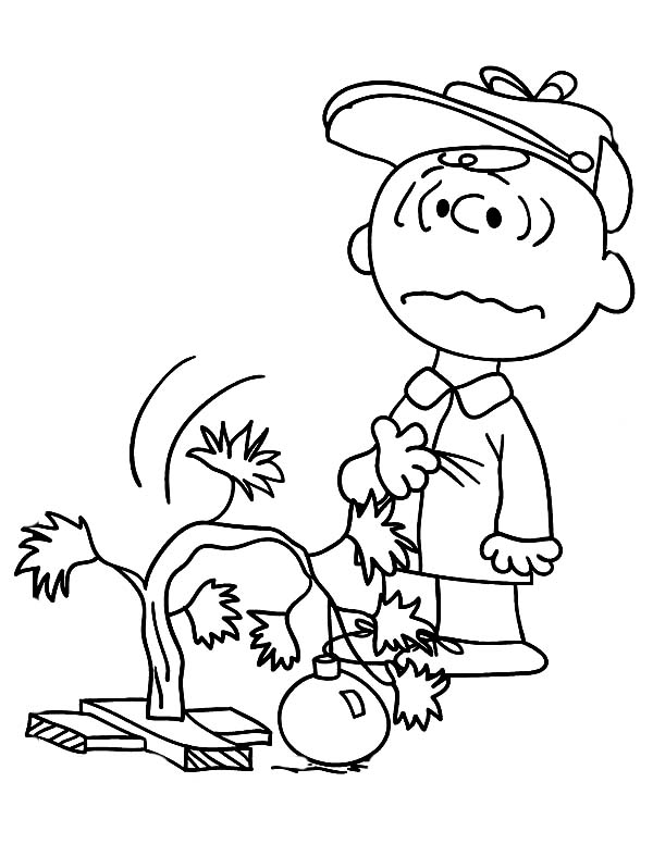 Charlie brown christmas tree coloring pages