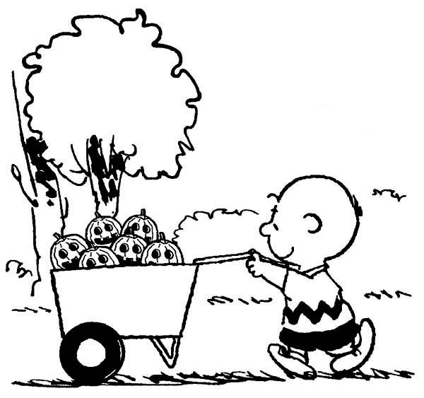 Charlie Brown, : Charlie Brown Pulling Cart Full of Halloween Pumpkin Coloring Page