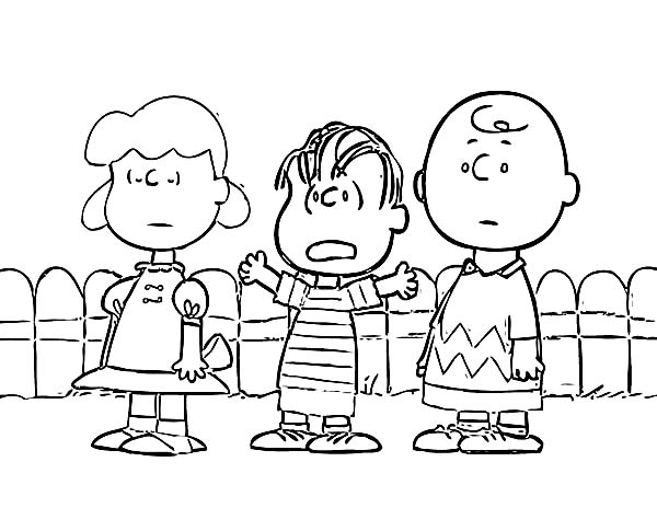 Charlie Brown, : Charlie Brown and Friends Coloring Page