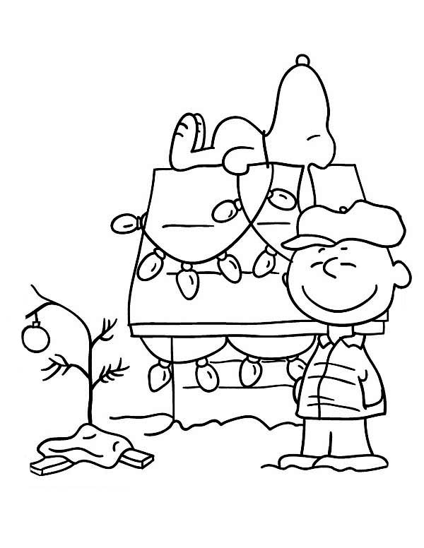 Charlie Brown and Snoopy Christmas Coloring Page | Coloring Sun
