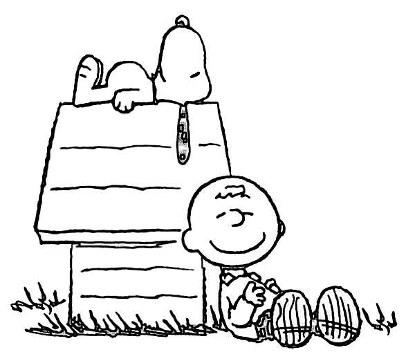 Charlie Brown and Snoopy is Sleeping Coloring Page | Coloring Sun