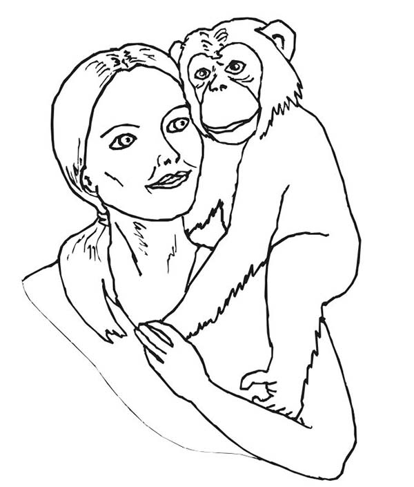 Chimpanzee, : Chimpanzee and Animal Lover Coloring Page
