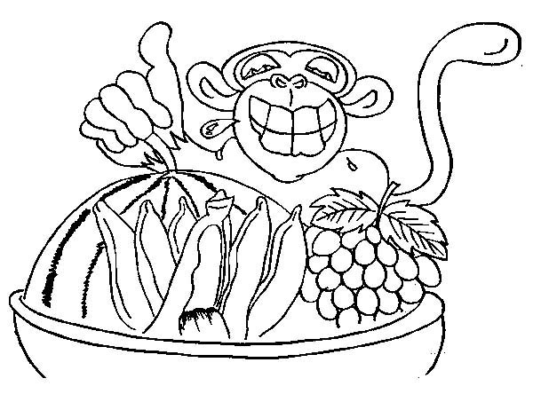 Chimpanzee, : Chimpanzee and Bucket Full of Fruits Coloring Page