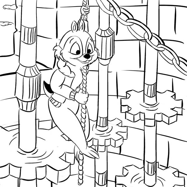 Chip and Dale, : Chip Getting Down with a Rope in Chip and Dale Coloring Page