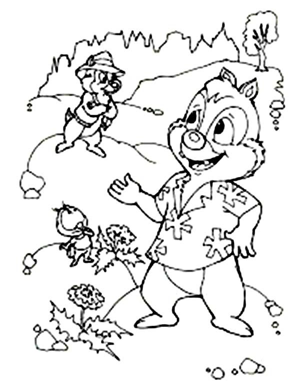 Chip and Dale Try to Find a Clue Coloring Page | Coloring Sun