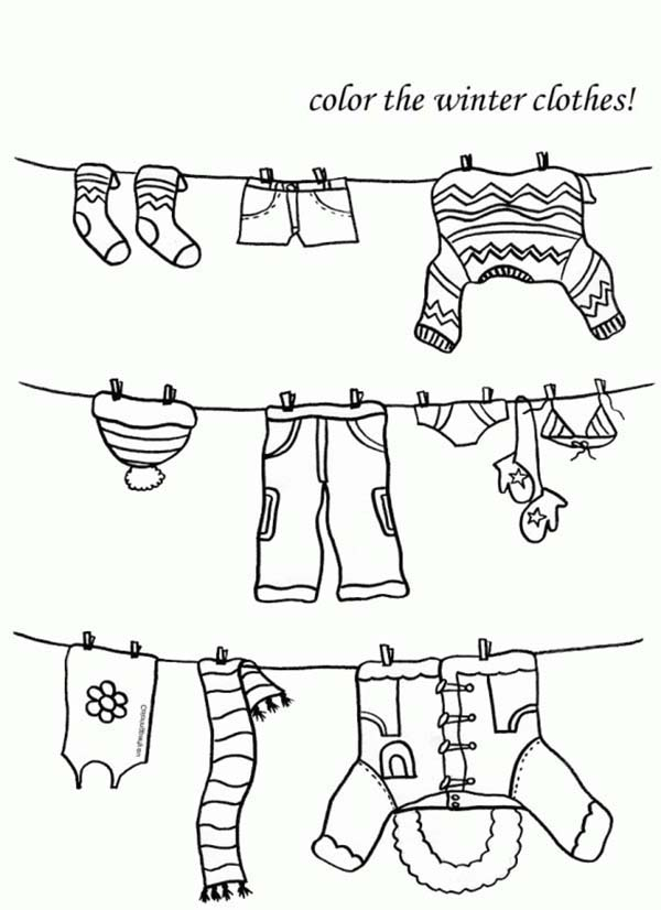 Winter Clothing, : Choose Your Winter Clothing Coloring Page