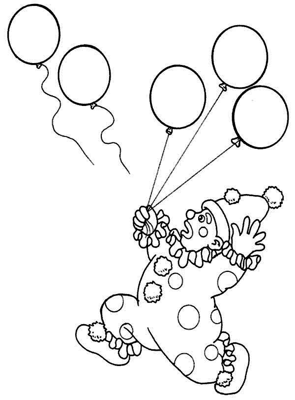 Circus, : Circus Clown Lose Hise Two Balloons Coloring Page