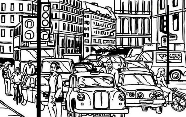 City, : City Activity Coloring Page