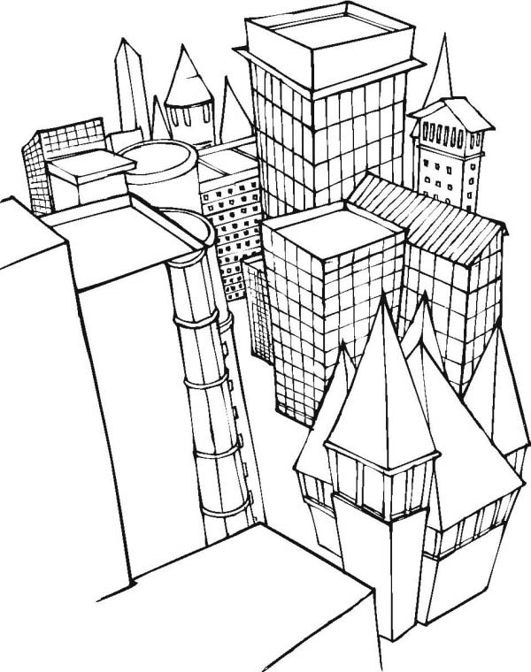 City, : City Coloring Page for Kids