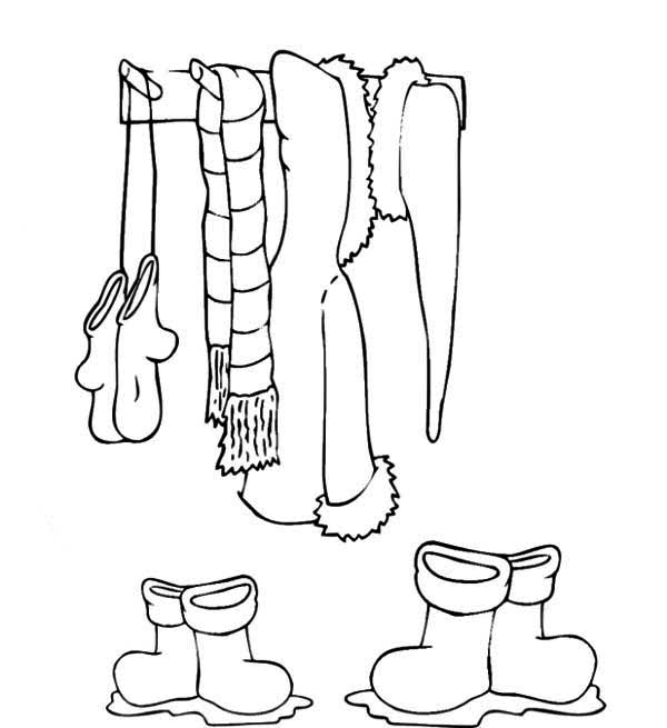 Winter Clothing, : Clothes for Winter in Winter Clothing Coloring Page