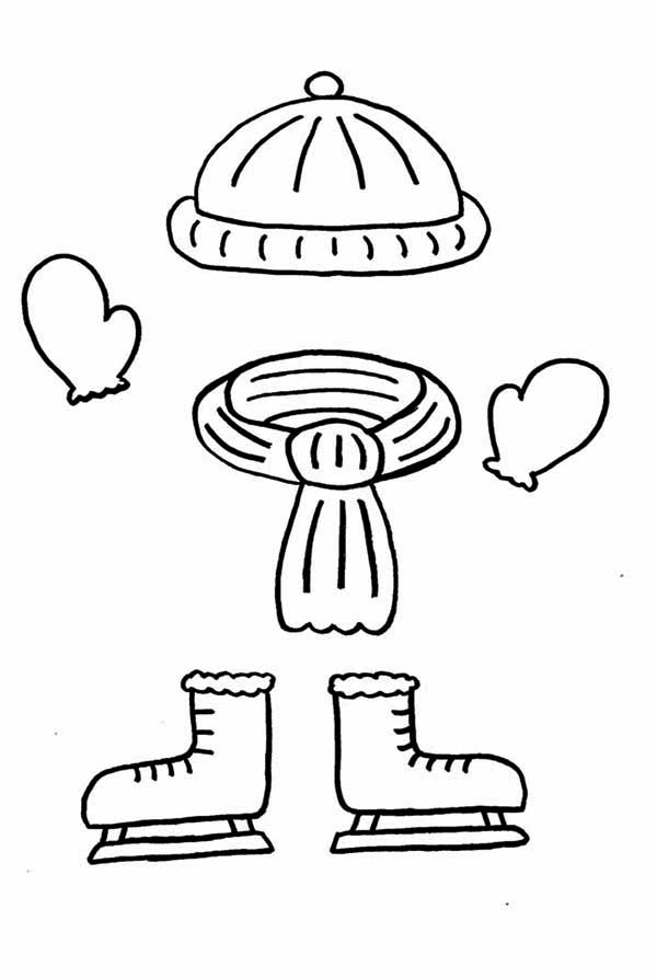 Winter Clothing, : Clothing Should Be Worn in Winter Season in Winter Clothing Coloring Page