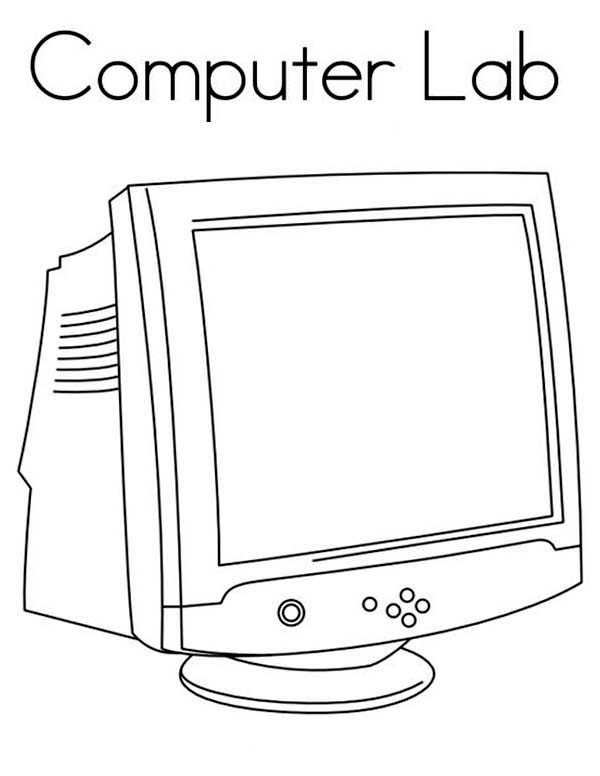 Computer, : Computer Lab Coloring Page