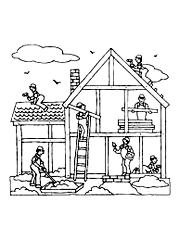 Construction, : Construction Job Building a House Coloring Page