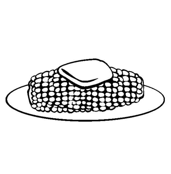 Corn, : Corn on the Cob Coloring Page