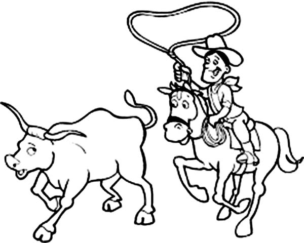 Cowboy, : Cowboy Catch an Ox Coloring Page for Kids