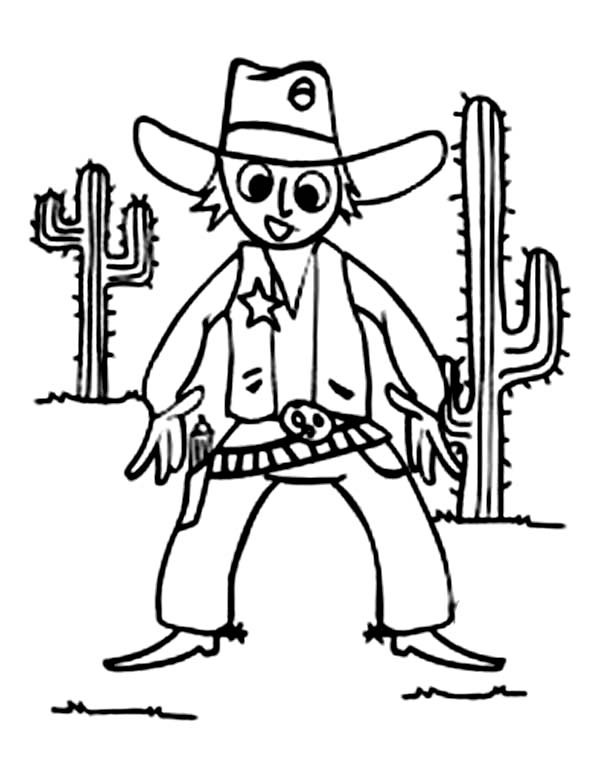 Cowboy, : Cowboy Dueling in Front of Giant Cactus Tree Coloring Page