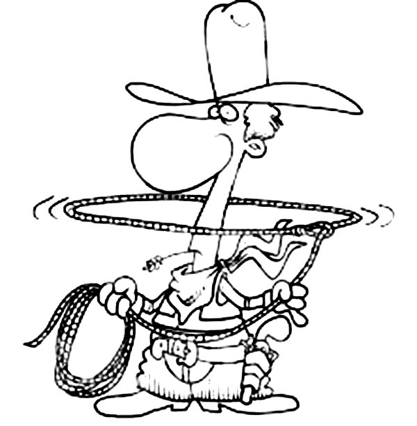 Cowboy, : Cowboy Play with Lasso Coloring Page