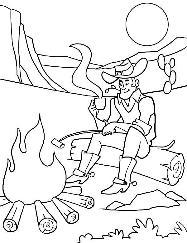Cowboy, : Cowboy Spend the Night at Desert Coloring Page