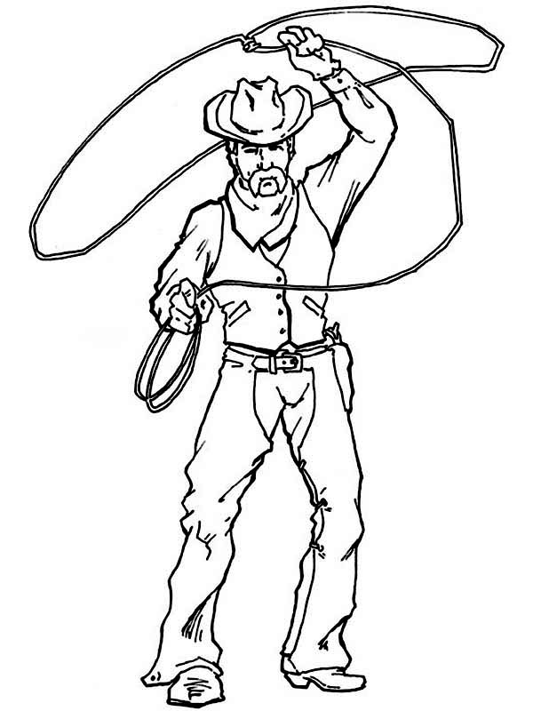 Cowboy, : Cowboy Spinning Lasso Wide Coloring Page