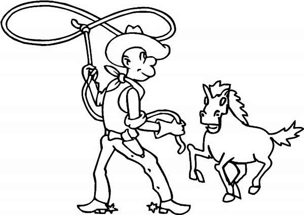 Cowboy, : Cowboy Taming Horse with Lasso Coloring Page