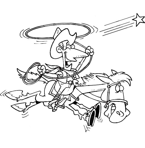 Cowboy, : Cowboy Trying to Catch a Star with Lasso Coloring Page