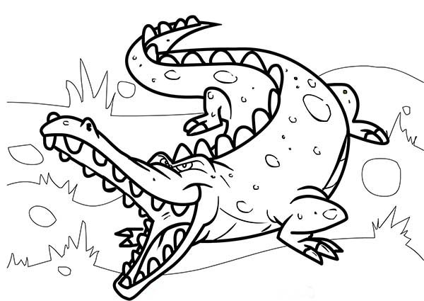 Crocodile, : Crocodile Sharp Teeth Coloring Page