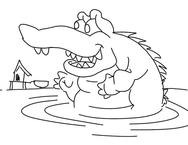 Crocodile, : Crocodile Waiting for His Prey in the Water Coloring Page