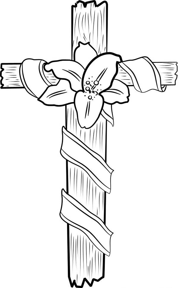 Cross, : Cross Coloring Page for Kids